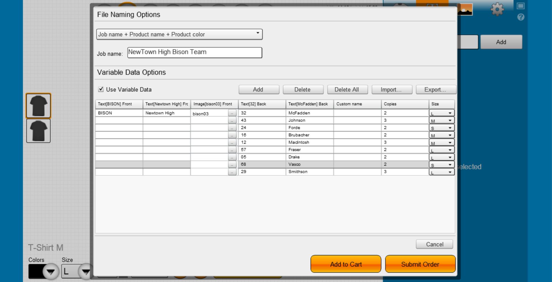 Use Variable Data to create team apparel quickly